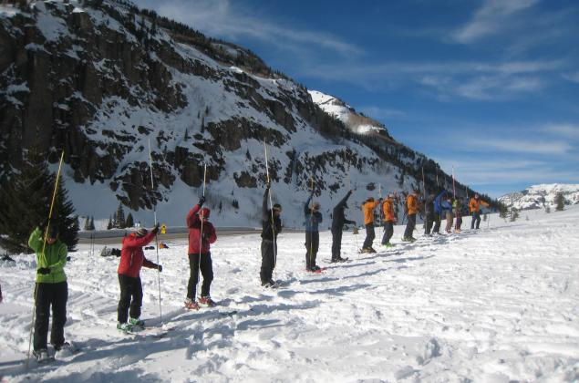 Rescue drill with avalanche probe